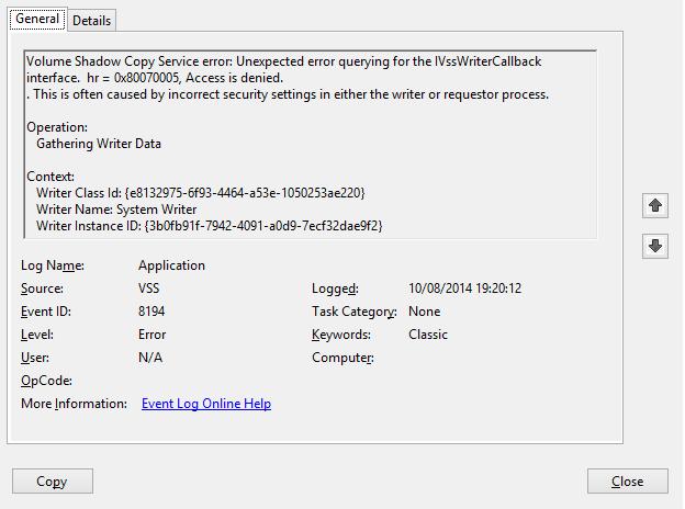 ISSUE: Unexpected error querying for the IVssWriterCallback