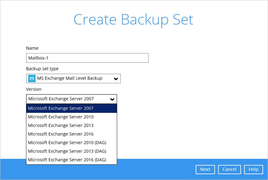 Microsoft Exchange Server 2007/2010/2013 Mail Level Backup